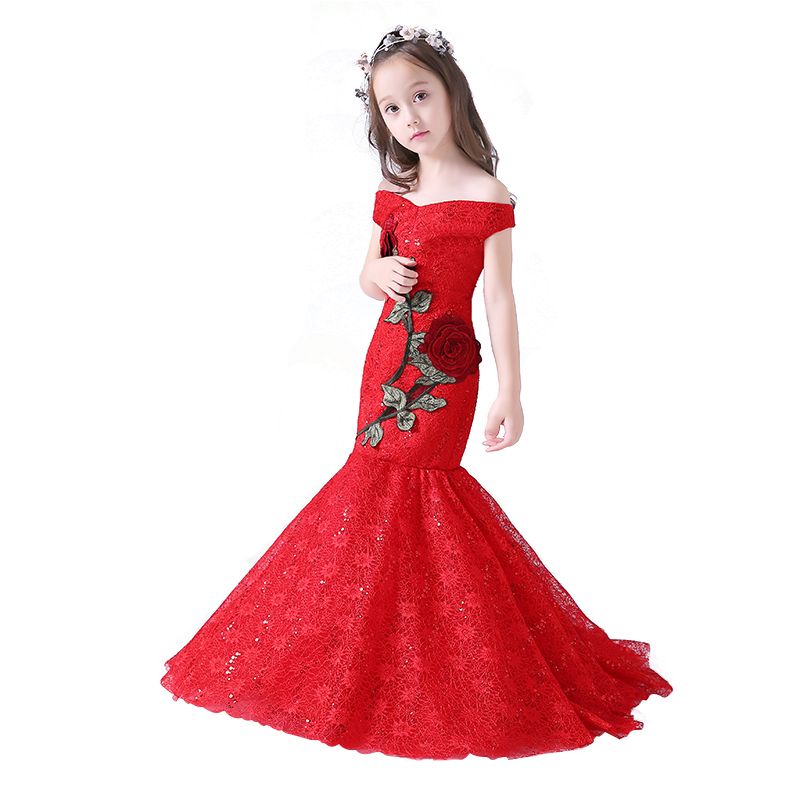 Red Embroidery Mermaid Kids Girl Dress Trails Flower Girls Dress Shoulderless Party Gown Kids Pageant Dresses A119Red Embroidery Mermaid Kids Girl Dress Trails Flower Girls Dress Shoulderless Party Gown Kids Pageant Dresses A119