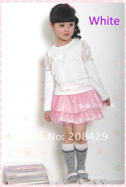 2011 autumn girl t-shirt, Bow 100% cotton long-sleeved kids t-shirt & 4 color Sweet Lovely children wear/Free shipping