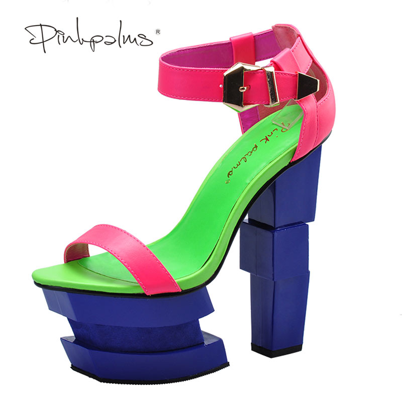 Pink Palms summer sandals sexy women high heels sandals sweetly blush fashion buckle thick women platform