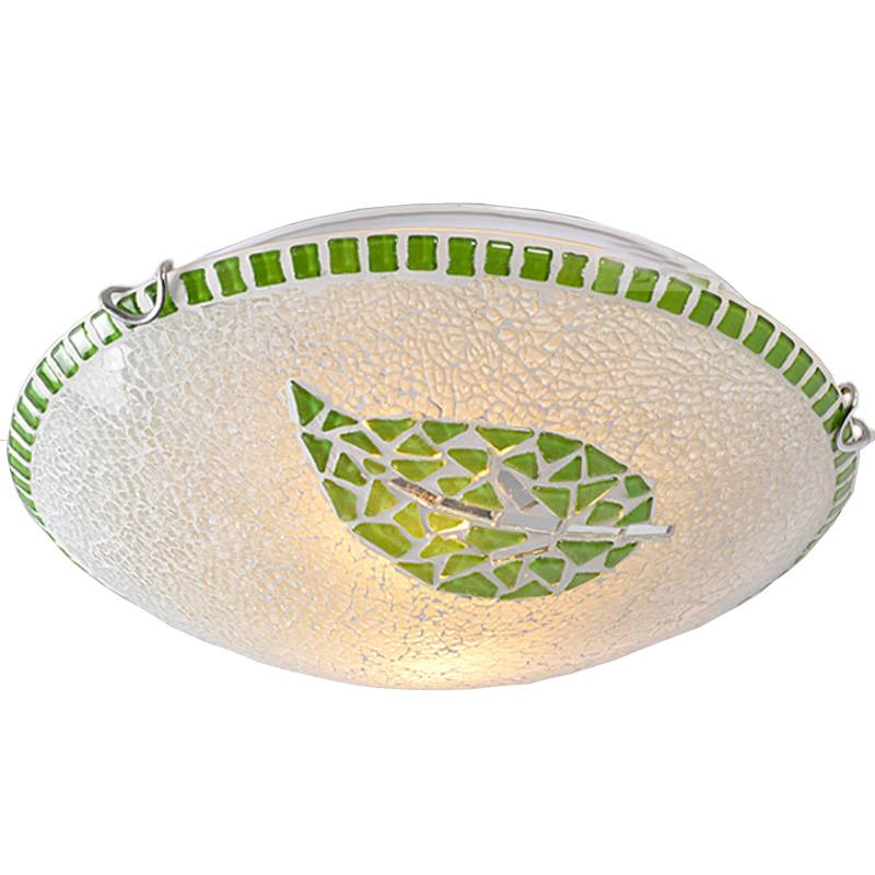 Mosaic Green Leaf LED Bedroom Ceiling Lamp Pastoral Dining Room Corridor Ceiling Fixtures Kitchen Hallway Washroom Ceiling Light