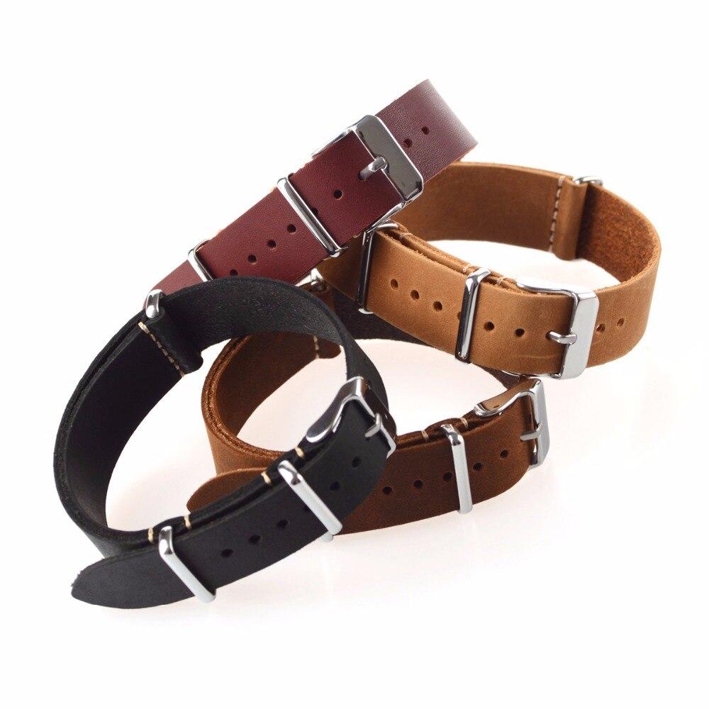 EACHE маленькое отверстие, кожаный ремешок для часов Nato, винтажный ремешок для часов из натуральной кожи, много цветов и размеров, 18 мм, 20 мм, 22 м...