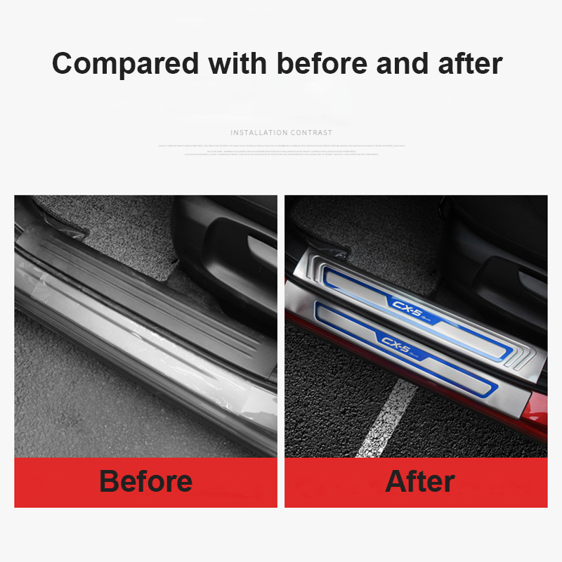 Image 3 - For Mazda CX 5 CX5 2017 2018 2019 Car Door Sill Trim Scuff Plate Welcome Pedal Protector Cover stainless steel enterance Guard-in Chromium Styling from Automobiles & Motorcycles
