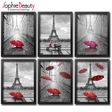 Фотография DIY diamond painting cross stitch Needlework diamond mosaic diamond embroidery Paris red umbrella  pattern hobbies and crafts