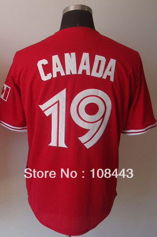 Wholesale baseball jersey Toronto Blue Jays canada day 19 Jose Bautista jersey,Embroidery Logo cool base jersey,size 48-56