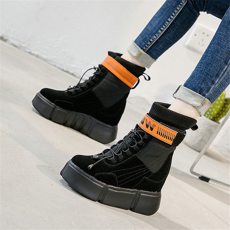 Genuino Lace khaki1 rose1 De khaki2 Tacones Partido Zapatos Moda Casuales Zapatillas Bombas Nueva Punk Mujer Black1 Cuero Plataforma Up Altos Nayiduyun black2 P1SXw
