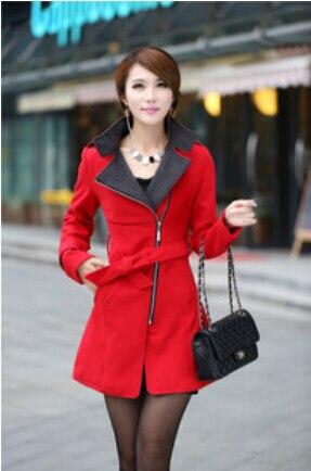 2015 femmes de laine de manteau femmes longue laine manteaux d'hiver rouge blanc jaune veste dames à double boutonnage manteau femme pardessus