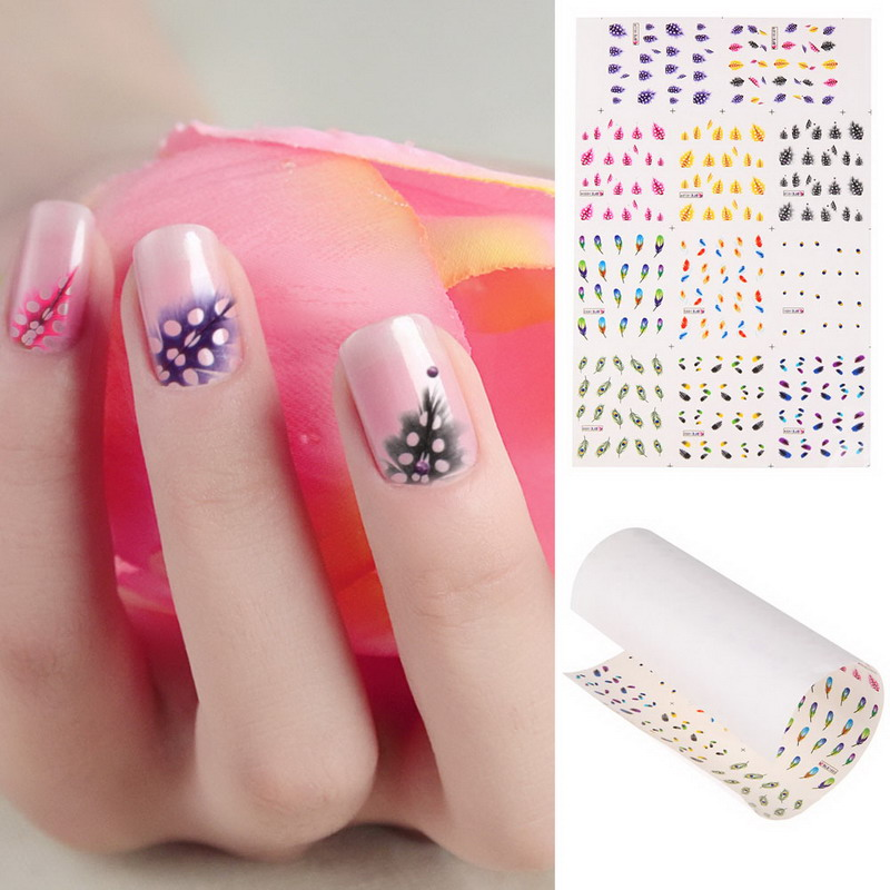 2018 Hot Sale Nail Stickers 1 Sheet Multi Color Feather 3d