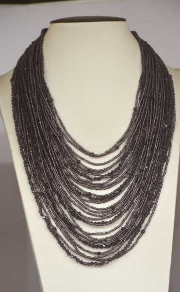 Dark Purple Crystal handmade Glass seed beads statement necklace for fashion women party