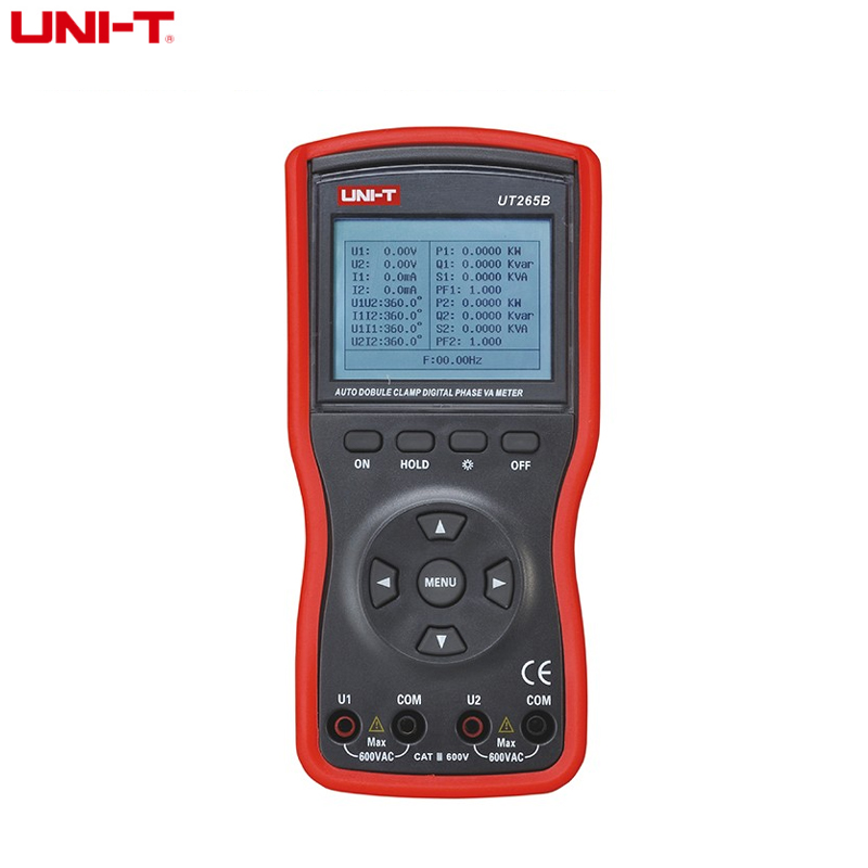 UNI T UT265B Auto Double Two Way Clamp Digital Phase Meter Volt 600V Ammeter Power Factor