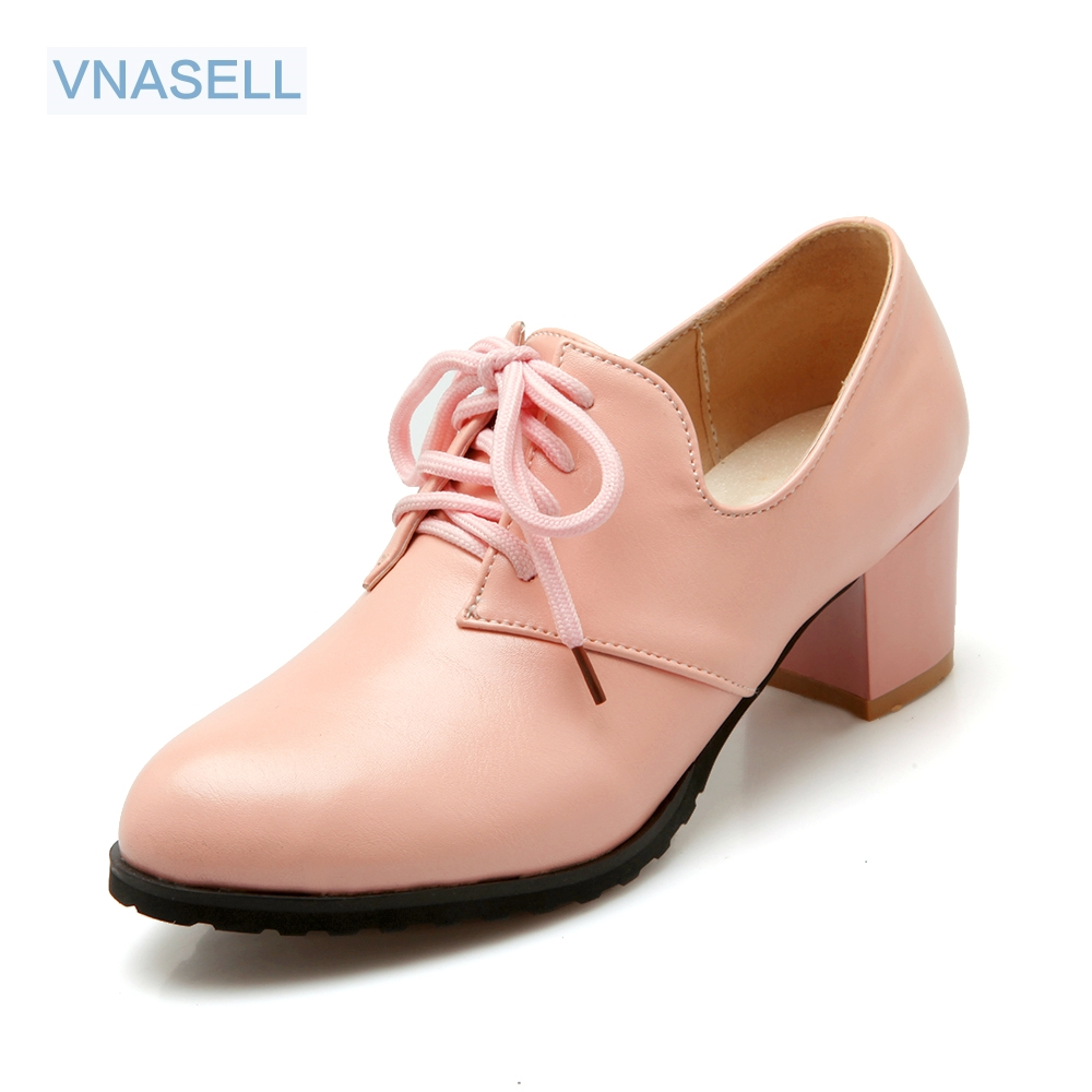 Vnasell new women shoes PU Round Toe ladies Lace-Up black <font><b>high</b></font> <font><b>heels</b></font> zapatos mujer large <font><b>size</b></font> 30 31 32 33 41 42 45 49 <font><b>50</b></font> image
