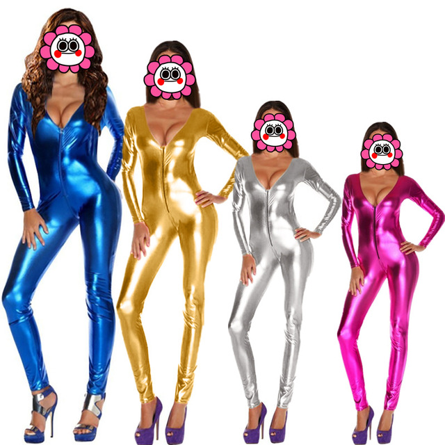 4 Colors Women Jumpsuits Romper Sexy Solid Latex Catsuits Gold Zipper Front Night Club Full Sleeve Faux Leather V Neck Bodysuit