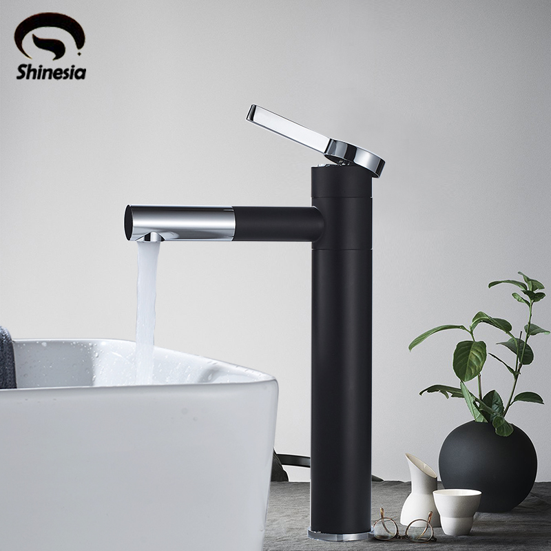 Newly Basin Mixer Tap 360 Degree Rotate Type Basin Faucet Black and Silver chrome Finish Bathroom Faucets Single Hand Bathroom