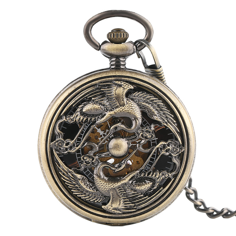 Retro Skeleton Phoenix Carving Automatic Mechanical Pocket Watch Men Women Exquisite Fob Watches Chain Hollow Steampunk Clock
