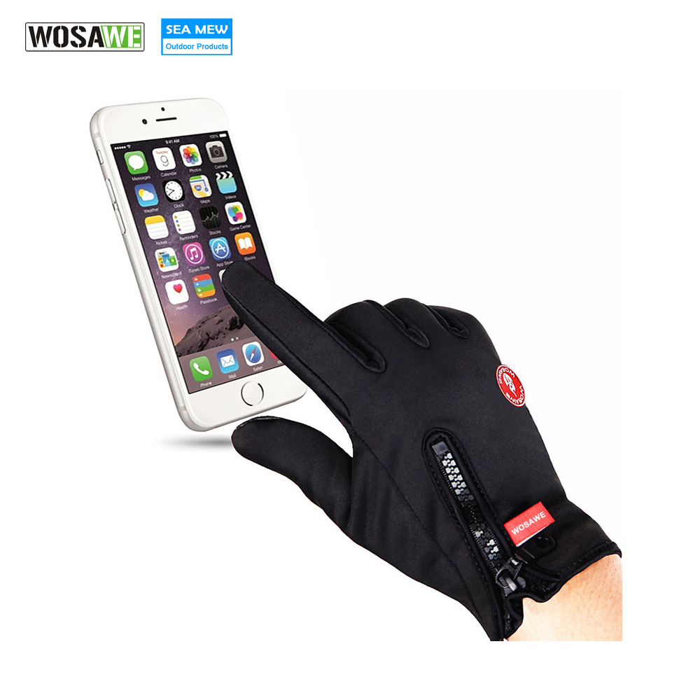 WOSAWE Touch Screen Cycling Gloves Men Women Black Windproof Warm Outdoor Sports MTB Bike Bicycle Skiing Full Finger Gloves
