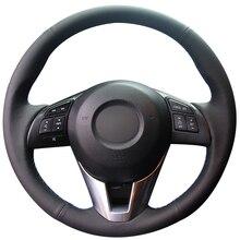 Черный натуральный кожаный чехол рулевого колеса автомобиля для Mazda 3 Axela Mazda 6 Atenza Mazda 2 CX-3 CX3 CX-5 CX5 Scion iA