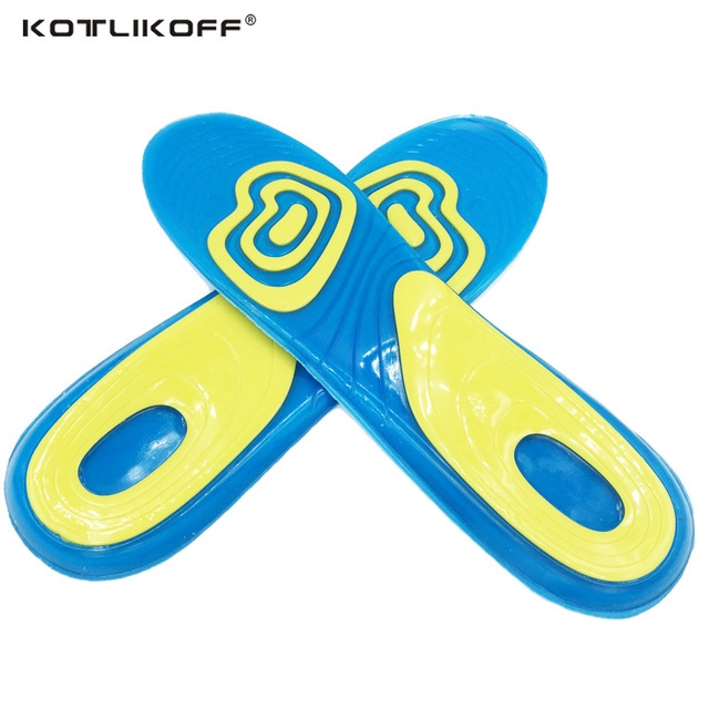 KOTLIKOFF Unisex Silicon Gel Insoles Shock Absorption soft Comfortable insoles Sport Shoe Insole Pad Massaging foot pad inserts expfoot orthotic arch support shoe pad orthopedic insoles pu insoles for shoes breathable foot pads massage sport insole 045