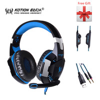 Subwoofer G2000 Game Headphone Gaming Headset Wired Earphone Stereo Bass With Microphone LED Noise Canceling For