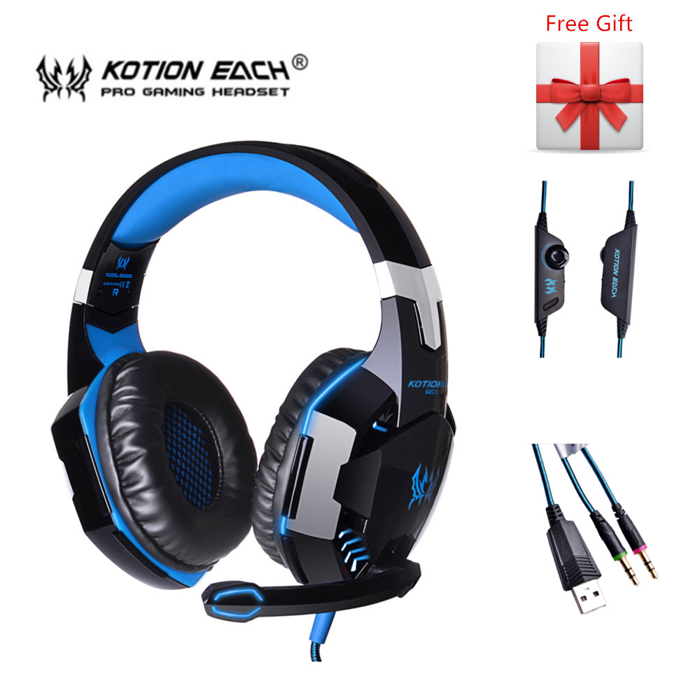 G2000 Subwoofer Game Headphone Gaming Stereo Headset Wired Earphone Deep Bass with Mic LED Light Noise Canceling for Computer PC