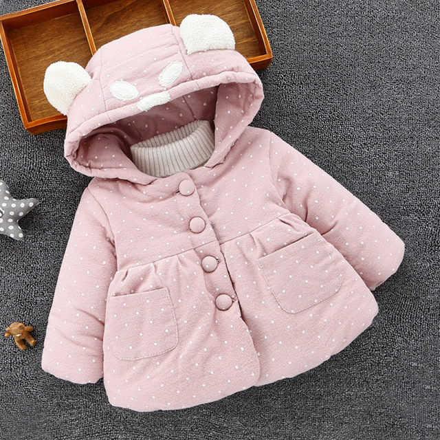 New Baby Coat Girl  Dot Hooded Thickness  Autumn  Winter  Newborn Jacket  Winterjas Baby Meisje Baby Coat  8BB001