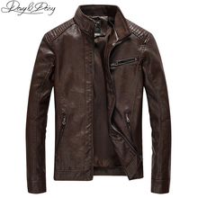 DAVYDAISY 2019 New Arrival PU Leather Jacket Men Autumn Stand Collar Zipper Fashion Men Coat Casual Dress Leather Jacket DCT-244