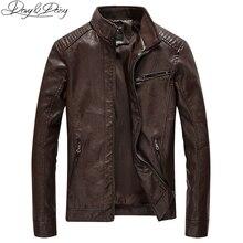 Davyديزي 2019 جديد وصول بولي Leather سترة جلدية الرجال الخريف الوقوف طوق سستة موضة الرجال معطف فستان كاجوال سترة جلدية DCT 244