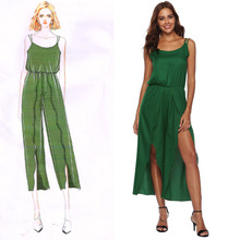 2019 Summer women jumpsuit sexy high slit irregular suspenders jumpsuit sexy green Capri boot cut pants stylish beaded high waisted slit capri pants for women