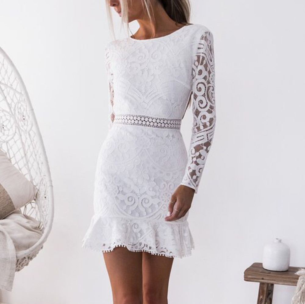 Women Solid O-Neck Lace Patchwork Long Sleeve Backless Party Bandage Mini Dress #4S19 #F