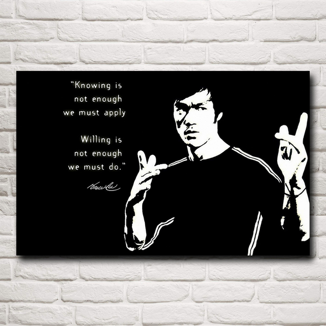 Chinese Kung Fu Movie Star Bruce Lee Bodybuilding Decoration Painting Silk Poster(12×19,15×24,19×30,22×35 inches)(Free Shipping)