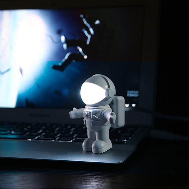 New Style Cool New Astronaut Spaceman USB LED Adjustable Night Light For Computer PC Lamp Desk Light Pure White