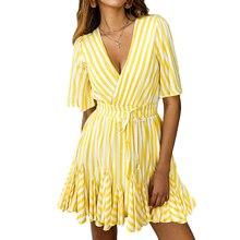 купить Summer Dress 2019 V Neck Ruffle Short Beach Dress Dresses Woman Party Night Casual Striped Dress Female Vestido Festa Plus Size онлайн