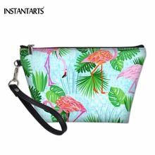 INSTANTARTS Cute Cartoon Tropical Flamingos 3D Printing Women Cosmetic Cases Fashion Brand PU Makeup Bags Travel Organizer Bags