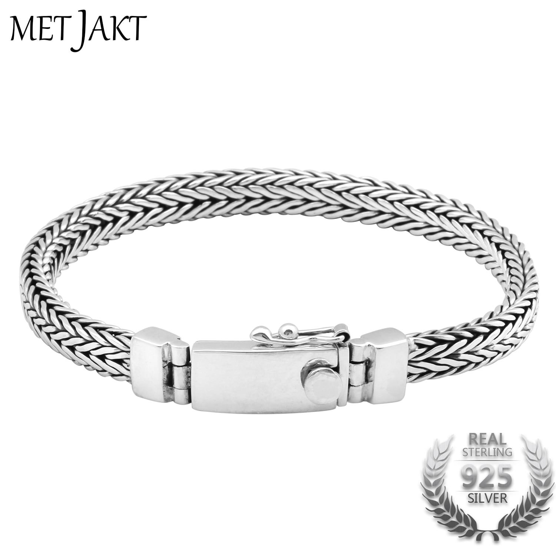 MetJakt Classic 19cm Real 925 Sterling Silver Unisex Bracelet Link Friendship Bracelets Fine Jewelry mens bracelets 2018 friendship bracelets 9mm man bracelet silver 925