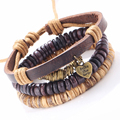 Bohemian Bracelet Punk Design Ethnic Vintage Fashion Jewelry Wristband Female Genuine Natural Leather Harajuku Bracelet RUIER174