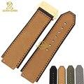 Pulseira de couro genuíno assista bracelete Pulseira Convexo interface de 25*19mm faixa de relógio de pulso banda dobra pulseira fivela