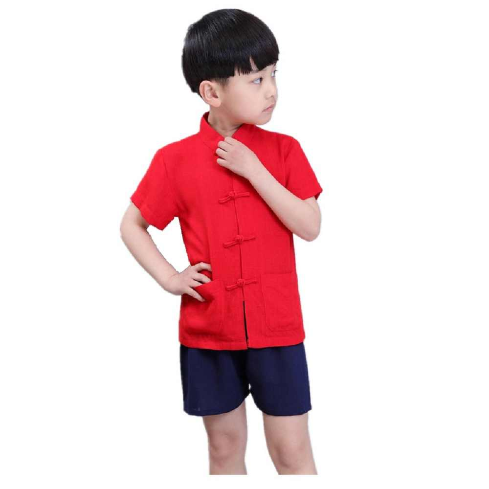 2019 男の子カンフー服セット中国スタイルの子供 Tシャツショートパンツ唐装リネン通気性ボーイズジャージスポーツスーツ