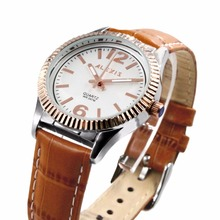 цена на Alexis Watch Best Durable 2035 Quartz Movement Watches Brown Geninue Leather Band White Dial Water Resistant