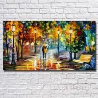 Große Handgemalte Liebhaber Regen Straße Baum Lampe Landschaft Ölgemälde auf Leinwand Wandkunst Bilder Für Wohnzimmer Home Decor