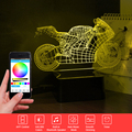 3D Motorcycle Night Music Control de APP Altavoz Bluetooth Luz Colorida Lámpara de Mesa Regulable Arte de Cristal Dormitorio Luz Niño Regalo