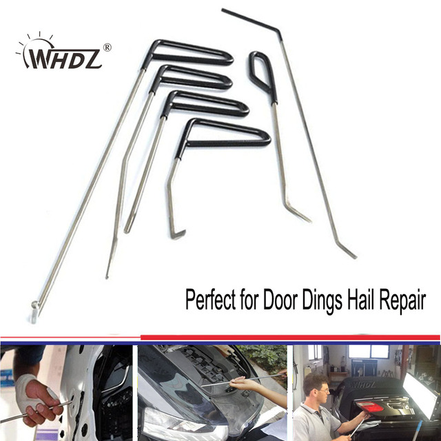WHDZ 6 Pieces PDR Rods Kit Paintless Dent Repair Master - Perfect for Door Dings Hail Repair and Dent Removal Hook Wedge