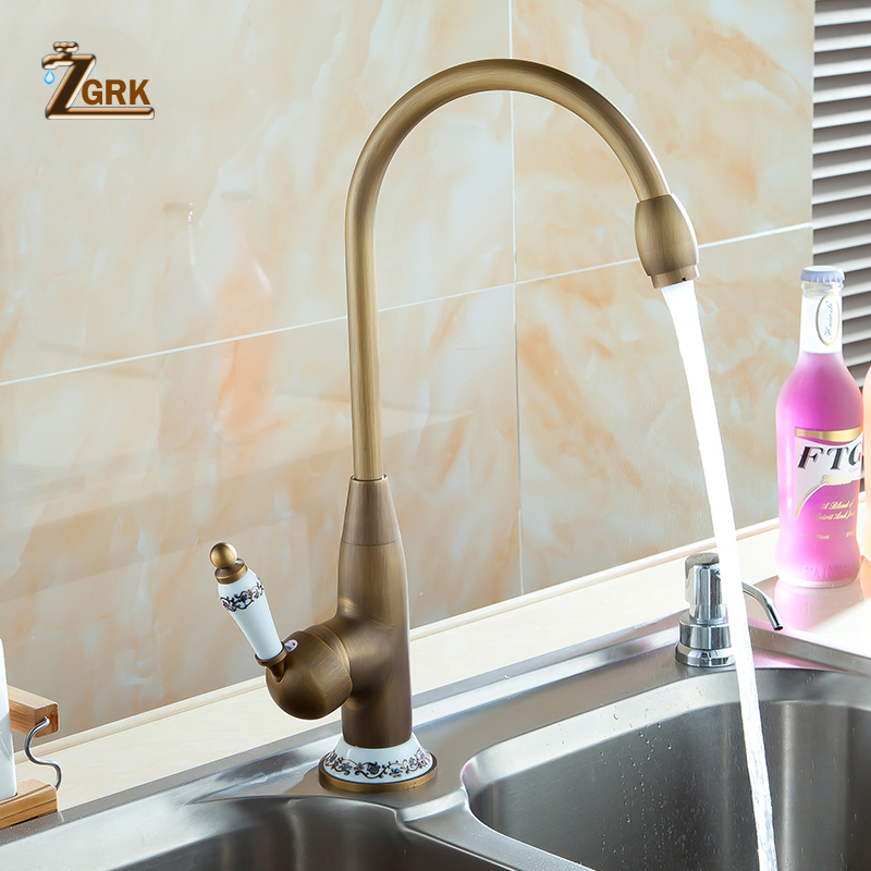 ZGRK 360 Swivel Stream Spout Antique Copper Brass Finish Deck Mounted Tap Kitchen Sink Faucet Hot