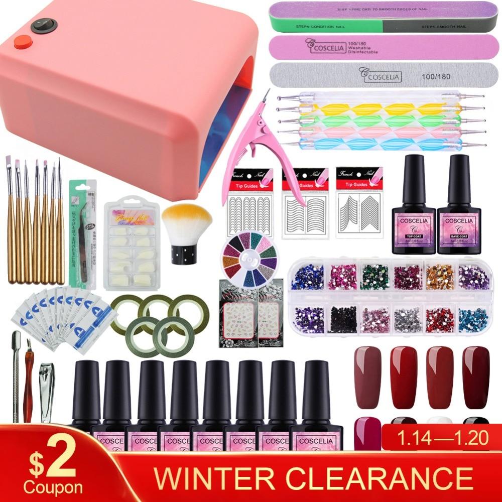 COSCELIA de uñas de manicura Kit Gel barniz 8 Color Gel UV polaco 36 W LED lámpara Gel barniz esmalte de uñas, UV máquina