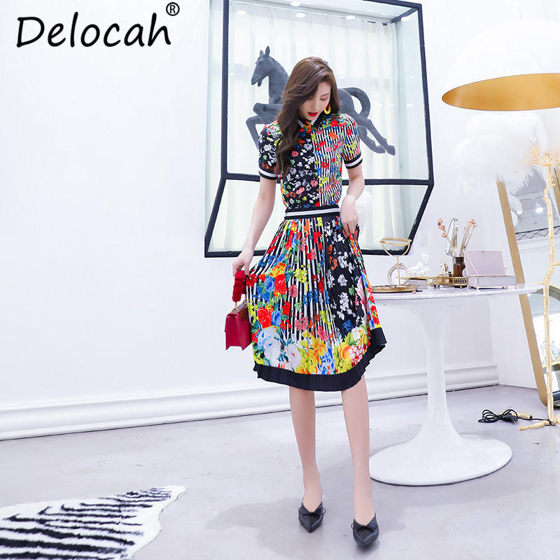 Delocah Autumn Women Set Runway Fashion Designer Short Sleeve Slim Shirt Flower Printed Knee Length Pleated Skirt Two Sets in Women 39 s Sets from Women 39 s Clothing