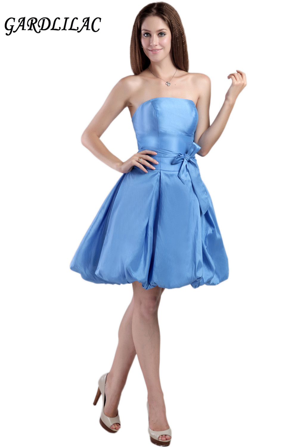 2017 real picture ball gown blue Taffeta short   cocktail     dresses   evening party   dress   with bow