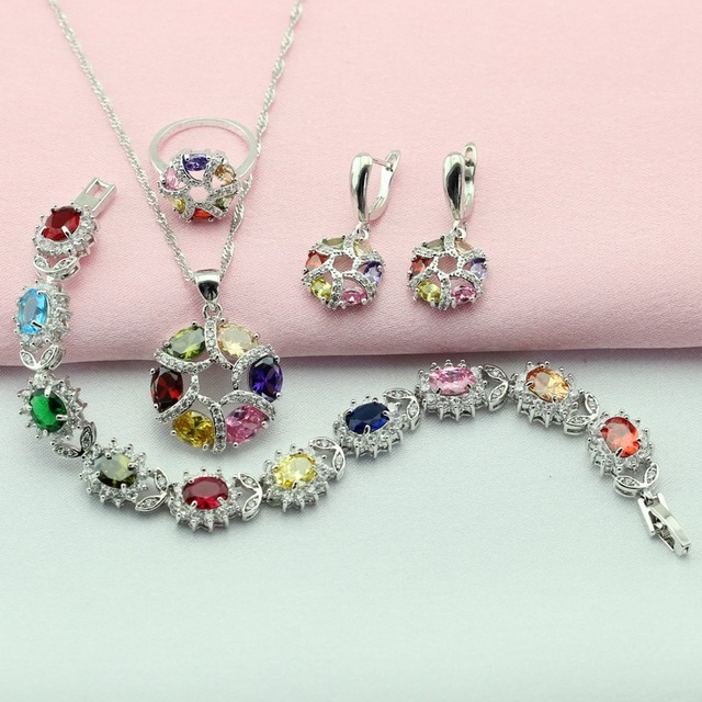 WPAITKYS Round Multicolor Stone Silver Plated Jewelry Sets For Women Drop Earrings Bracelet Necklace Pendant Ring Free Gift Box
