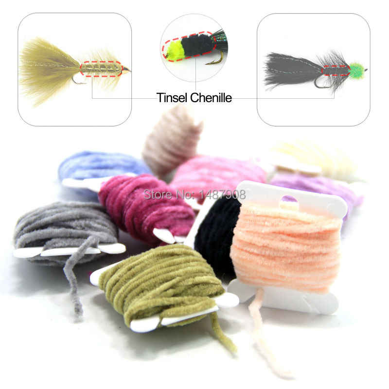 10 Colors Worms Rayon Chenille Yarn// Tinsel line Fly Fishing Tying Body Material