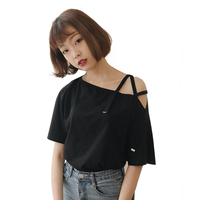 2017 Summer Korean Women Cute T-shirt Off Single Shoulder Sexy Japanese Tops Female Tee Basic T Shirts For Young Girl Chic Style