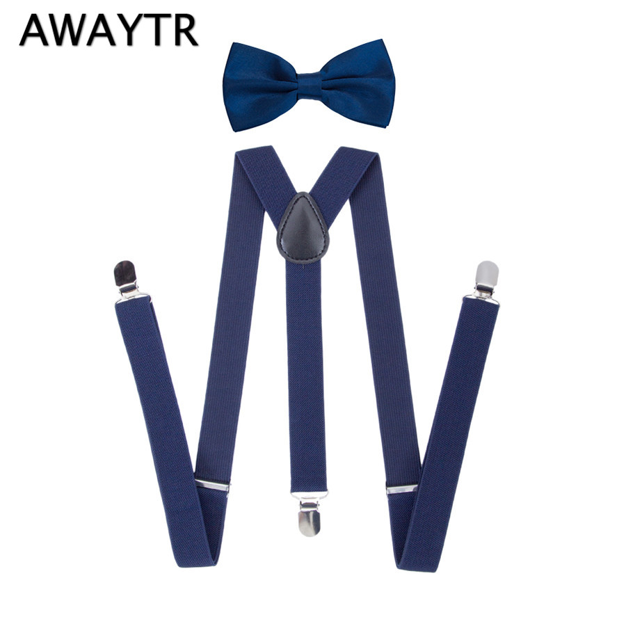 AWAYTR 2.5cm width Suspenders Set Children Navy Blue Color Braces with Three Clips Fashion Clothing Accessories Wedding School