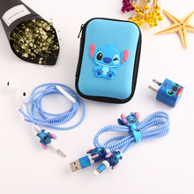 New Cartoon USB Cable Earphone Protector Set With Box Winder Stickers Spiral Cord For iphone 5s 6 6s 7