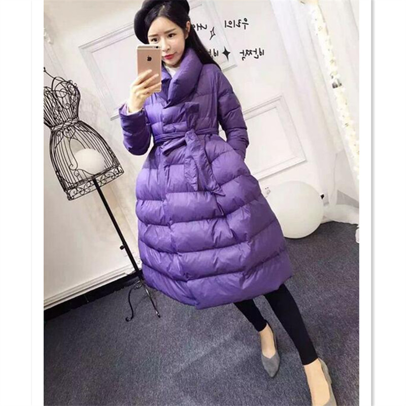 Long Warm Plus Size Purple Parkas For Women Winter Bandage Long Sleeve Elegant Thick Single Breated