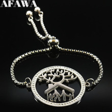 цена на 2019 Family Tree of Life Crystal Stainless Steel Charms Bracelet for Women Silver Color Bangle Jewelry acero inoxidable B18321